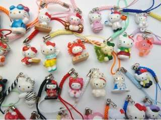 500 pcs Hello Kitty Mobile Cell Phone  Charm Straps Party Gifts