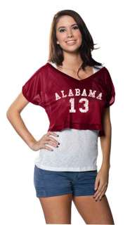 Alabama Crimson Tide Womens Crimson Cropped Top Mesh Jersey