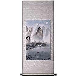Mountain Lake Cottage Wall Art Scroll Painting (China)