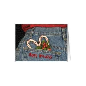 , candy cane, blue jeans, holly, love Card: Health & Personal Care