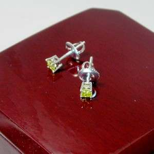 25 CTW VS2 CANARY YELLOW PRINCESS DIAMOND STUD EARRINGS 14K SOLID