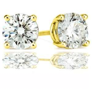 Pure .925 Sterling Silver 14 K Gold Plated Round Stud Earrings 2.00