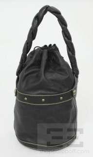Fendi Black Pebbled Calfskin Leather Drawstring Bucket Bag
