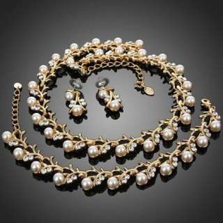 Pearl Necklace Bracelet Earring Jewelry Set Swarovski Crystal