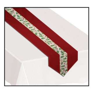 Christmas Decoration Holly Leaves Berries Table Runner
