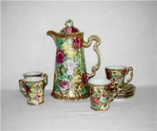 Beautiful NIPPON Chocolate Pot Set w Pink Roses, Gold Decor Blue Maple