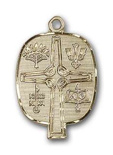 12K Gold Fill Presbyterian Medal Cross Pendant Necklace