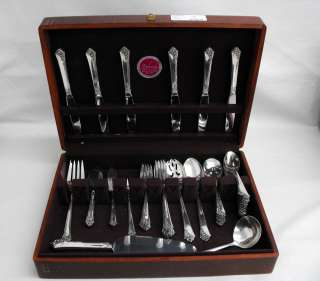 Pc Heirloom Sterling Silver Damask Rose Flatware Set w Box 925