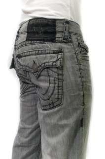 TRUE RELIGION Mens Jeans Ricky Black Super T Stitch Grey Silverwood