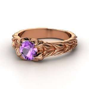 Rose and Thorn Ring, Round Amethyst 14K Rose Gold Ring Jewelry