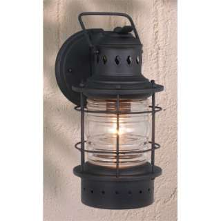 Nautical Outdoor Wall Lamp Lighting Fixture, Black, Clear Glass