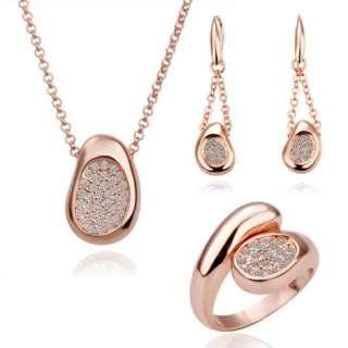 ST20 18K rose Gold plated Swarovski crystal ring necklace earrings set