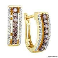 Chocolate Diamond 14K Gold Huggie Earrings Unisex hoop