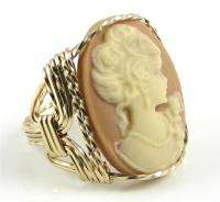Lady Rose Carmel Cameo Ring 14K Rolled Gold Jewelry