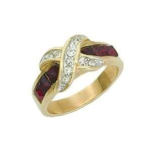 Womens Classic Line Siam Swarovski Crystal Two Tone Ring