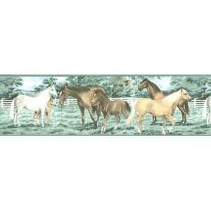 HORSE wall paper artwork WALLPAPER BORDER decor NEW