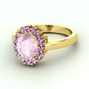 Penelope Ring, Oval Rose Quartz 14K Yellow Gold Ring with