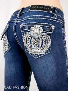 LA L.A. Idol Boot Cut Crown Flap Pocket Jeans Bling for Me Dont Miss