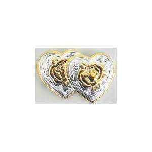 Sterling Silver with 14 Karat Gold Double Hearts with Roses Buckle