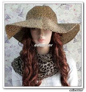 Women FASHION Leopard Print Pattern Vintage FLOPPY WIDE BRIM Hats Caps