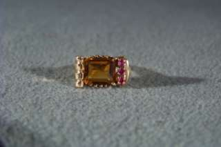 ANTIQUE 14 K GOLD ART DECO GOLDEN CITRINE RUBY RING 4.5