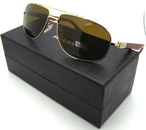 NEW AUTHENTIC PRADA SPR PR 57N ZVN8C1 GOLD SUNGLASSES