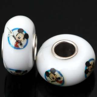 White Baked Glass Loose Bead Mickey Mouse Fit Bracelet