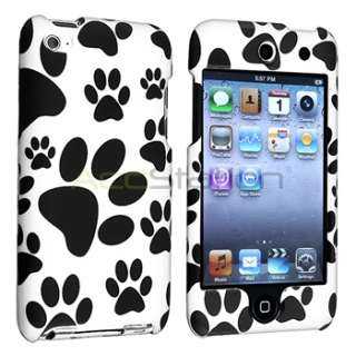 Black White Dog Paw Rubber Hard Case Cover+LCD Film for iPod Touch 4th