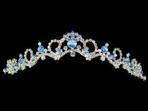 Light Blue Crystal Wedding Bridal Headpiece Party Tiara C6859A