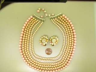 LOT ENAMEL MULTI STRAND PEARL BEAD RHINESTONE VINTAGE NECKLACE