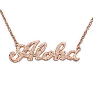 Hawaiian Jewelry Silver Aloha Pendant Pink Gold Finish