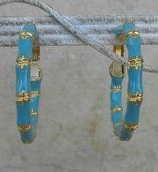Kenneth Jay Lane Turquoise Enamel Bamboo Hoop Earrings