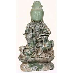 Jade Sculpture Quan Yin Apple Green Jade with Ruyi