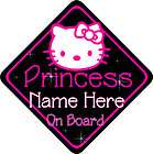 Princess Personalised Baby On Board Car Sign New Hot Pink & Black