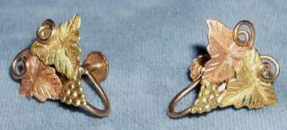 Vintage Pair of 10K Black Hills Gold Earrings with screw on backs