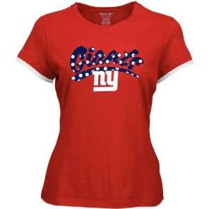Reebok New York Giants Ladies Red Polka Dot Team Logo Cap Sleeve