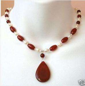 Beautiful white pearl and Red Ruby pendant necklace 18