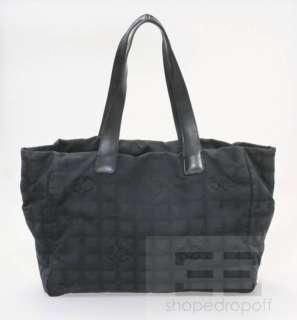 Chanel Black Nylon & Leather Trim Travel Line Tote Bag