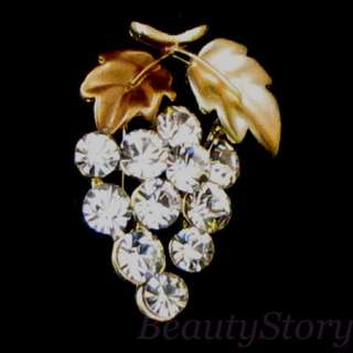 Item  rhinestone crystal grape brooch pin bouquet