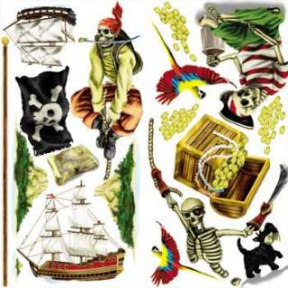 17 Piece PIRATE THEME SCENE Setter Design room clings giant Wall decal