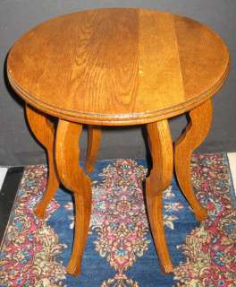 VINTAGE SOLID OAK ROUND PLANT STAND LAMP TABLE DISPLAY STOOL SIX