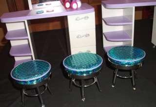 GIRL Doll Salon Station SPA 2 Tables 3 Stools Salon Chair nail polish