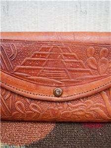 Vintage Boho TOOLED leather Aztec eagle clutch purse bag wallet