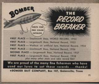 Vintage Ad Bomber Fishing Lures Bomber Bait Co Gainesville,TX