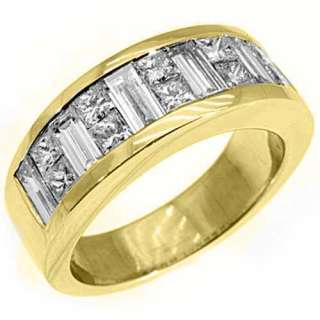 MENS 3.5 CARAT PRINCESS SQUARE CUT DIAMOND RING WEDDING BAND 18KT