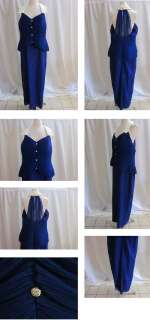 VINTAGE PURPLE BLUE CORSETS LONG FORMAL GOWN PROM PARTY EVE DRESS SIZE