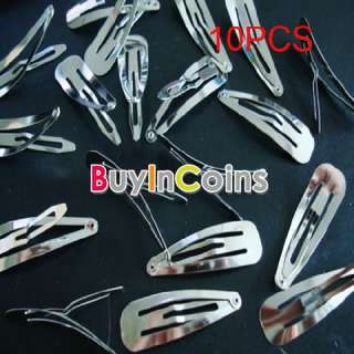10PCS Silver Girls Trendy Snap DIY Hair Clips Claw Barrette Pin Holder
