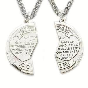 Christian St Silver Cross Mizpah Medal Pendant Necklace