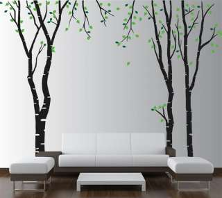 Wall Birch Tree Decal Forest Kids Vinyl Sticker Removable leaves #1119