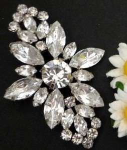 Bridal Clear White Rhinestone Brooch Pin 2 3/8 Height B308